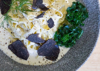 Mascarpone and White Wine Fettuccine with Tasmanian truffles