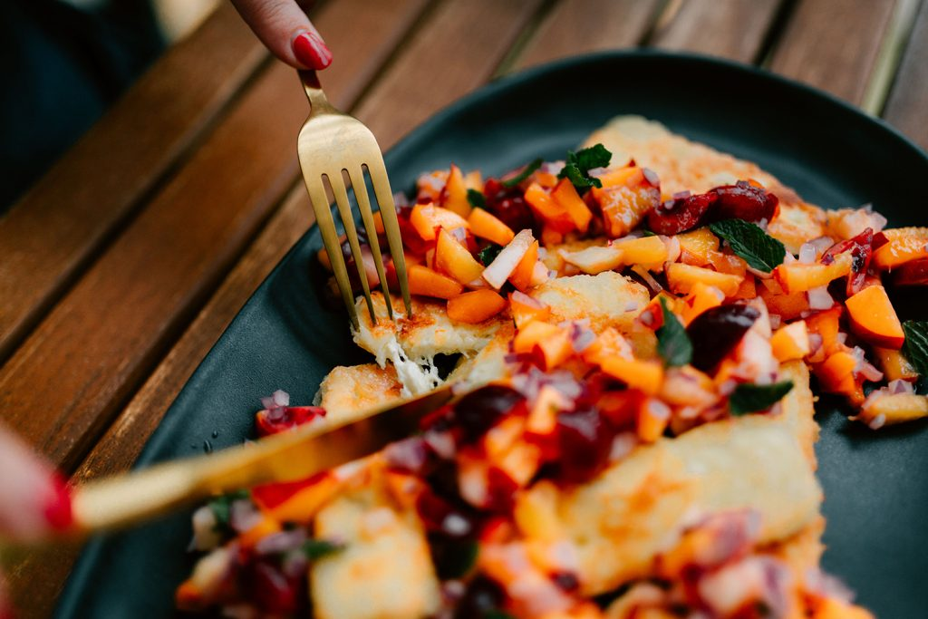 Haloumi with stone fruit salsa