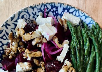 Beetroot, blue cheese and asparagus salad